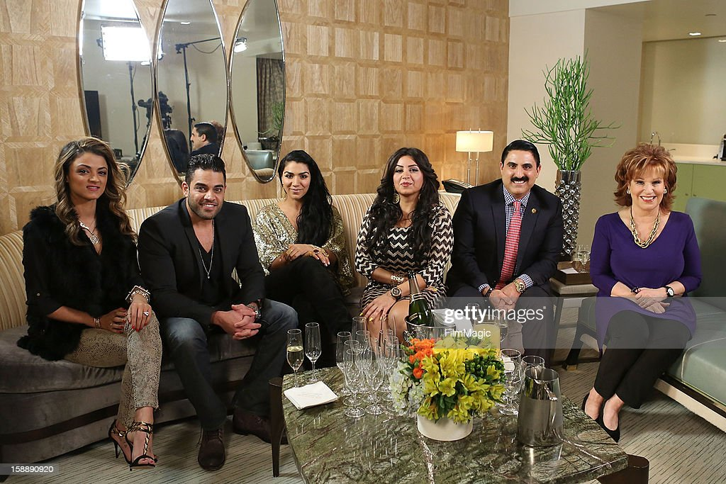 Golnesa 'GG' Gharachedaghi, Mike Shouhed, Asa Soltan Rahmati, Mercedes 'MJ' Javid, Reza Farahan and Joy Behar attend the Joy Behar Set Photography For Current TV at The London Hotel on January 2, 2013 in West Hollywood, California.