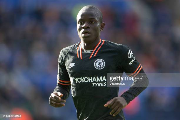 Golo Kanté of Chelsea during the Premier League match between Leicester City and Chelsea FC at The King Power Stadium on February 01, 2020 in...