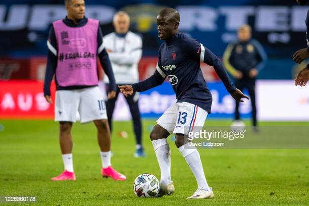 Golo Kanté of France during warm up ahead of the UEFA Nations League group stage match between Sweden and France at Friends Arena on September 5 2020...