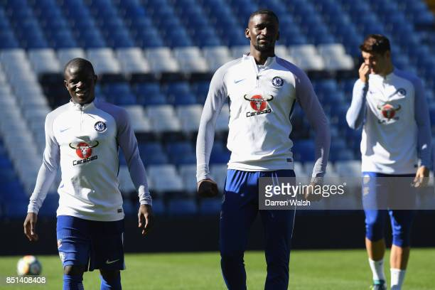 Golo Kante and Antonio Rudiger of Chelsea during a training session at Stamford Bridge on September 22 2017 in Cobham England