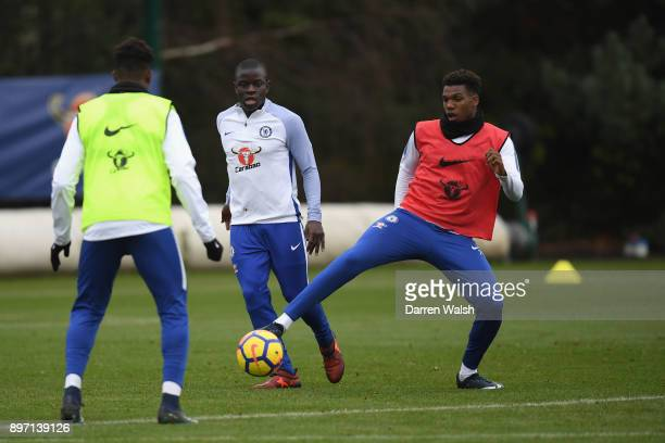 Golo Kante and Dujon Sterling of Chelsea during a training session at Chelsea Training Ground on December 22 2017 in Cobham England