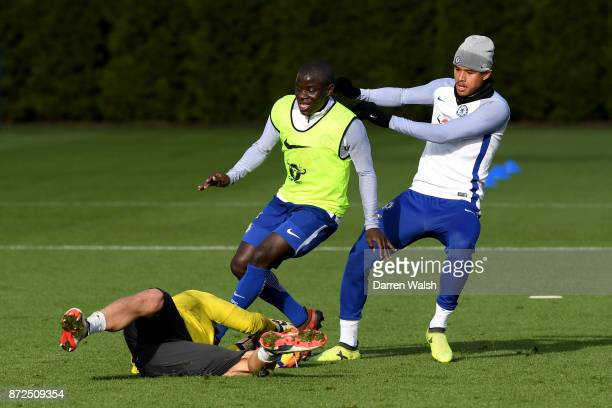 Golo Kante and Kenedy of Chelsea during a training session at Chelsea Training Ground on November 10 2017 in Cobham England