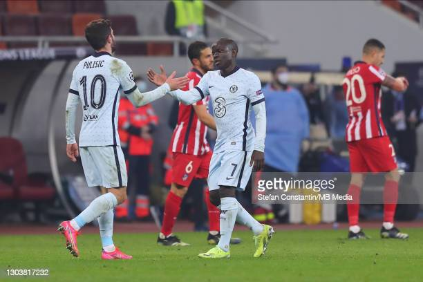 Golo Kante, Christian Pulisic during the UEFA Champions League Round of 16 match between Atletico Madrid and Chelsea FC at National Arena on February...