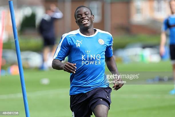 Golo Kante during the Leicester City training session at Belvoir Drive Training Ground on August 20 2015 in Leicester England