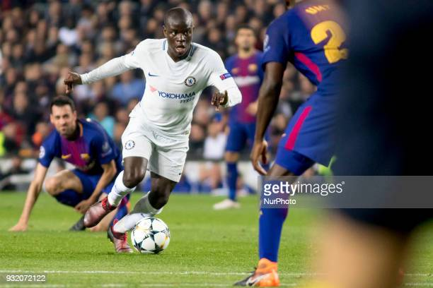 N'Golo Kante during the UEFA Champions League match between FC Barcelona and Chelsea FC at the Camp Nou Stadium in Barcelona Catalonia Spain on March...