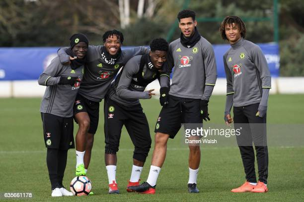 Golo Kante Nathaniel Chalobah Ola Aina Ruben LoftusCheek and Nathan Ake of Chelsea before a training session at Chelsea Training Ground on February...