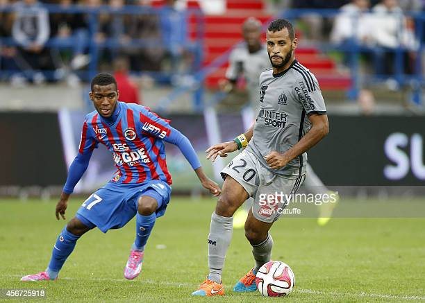 Golo Kante of Caen and JacquesAlaixys Romao of OM in action during the French Ligue 1 match between Stade Malherbe de Caen and Olympique de Marseille...