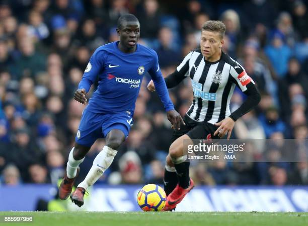 Golo Kante of Chelsea and Dwight Gayle of Newcastle United during the Premier League match between Chelsea and Newcastle United at Stamford Bridge on...