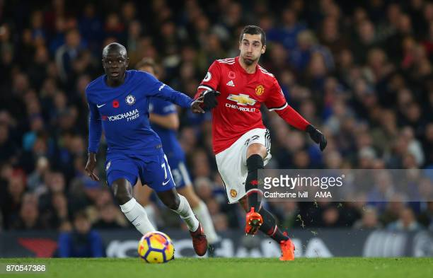 Golo Kante of Chelsea and Henrikh Mkhitaryan of Manchester United during the Premier League match between Chelsea and Manchester United at Stamford...