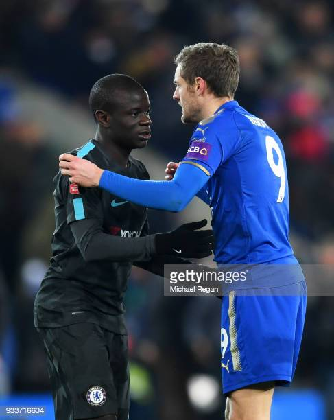 Golo Kante of Chelsea and Jamie Vardy of Leicester City shake hands after The Emirates FA Cup Quarter Final match between Leicester City and Chelsea...