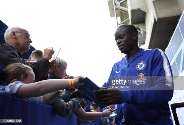 N'golo Kante of Chelsea arrives ahead of the Premier League match between Chelsea FC and Cardiff City at Stamford Bridge on September 15 2018 in...