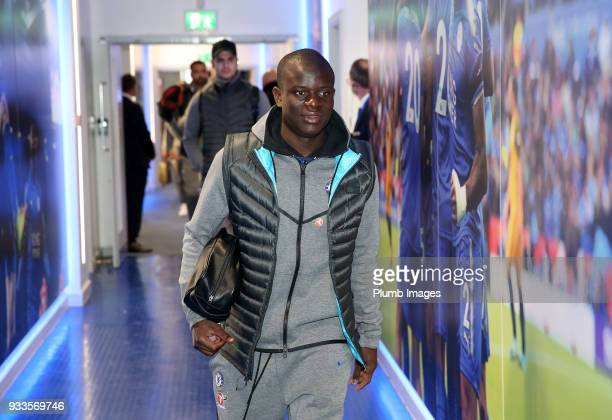 Golo Kante of Chelsea arrives at King Power Stadium ahead of The Emirates FA Cup Quarter Final tie between Leicester City and Chelsea at King Power...
