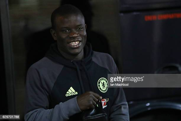 Golo Kante of Chelsea arrives at the stadiium prior to kick off during the Premier League match between Sunderland and Chelsea at Stadium of Light on...