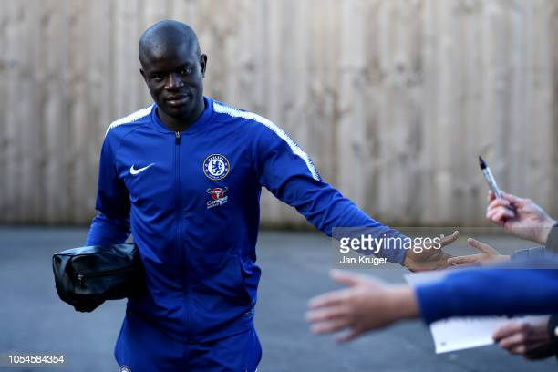 N'golo Kante of Chelsea arrives outside the stadium prior to the Premier League match between Burnley FC and Chelsea FC at Turf Moor on October 28...