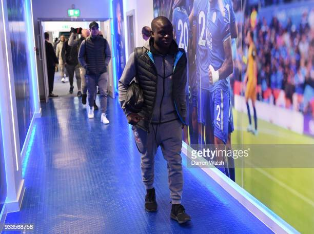 Golo Kante of Chelsea arrives prior to The Emirates FA Cup Quarter Final match between Leicester City and Chelsea at The King Power Stadium on March...