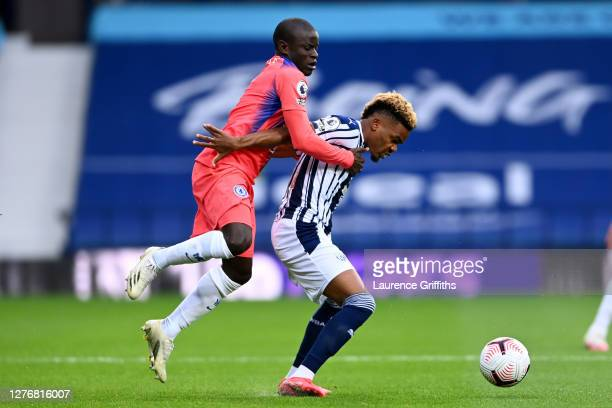 Golo Kante of Chelsea battles for possession with Grady Diangana of West Bromwich Albion during the Premier League match between West Bromwich Albion...