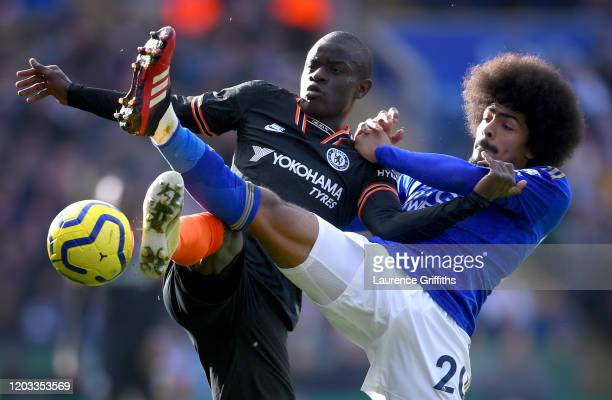 Golo Kante of Chelsea battles for possession with Hamza Choudhury of Leicester City during the Premier League match between Leicester City and...