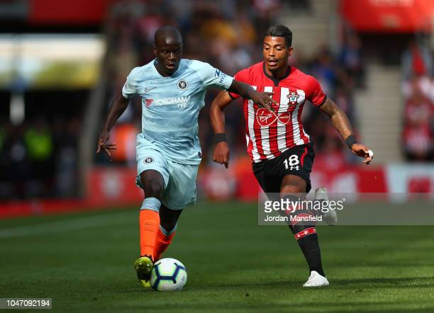 N'golo Kante of Chelsea battles for possession with Mario Lemina of Southampton during the Premier League match between Southampton FC and Chelsea FC...