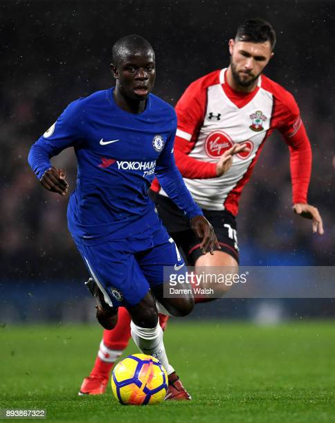 Golo Kante of Chelsea breaks away from Charlie Austin of Southampton during the Premier League match between Chelsea and Southampton at Stamford...