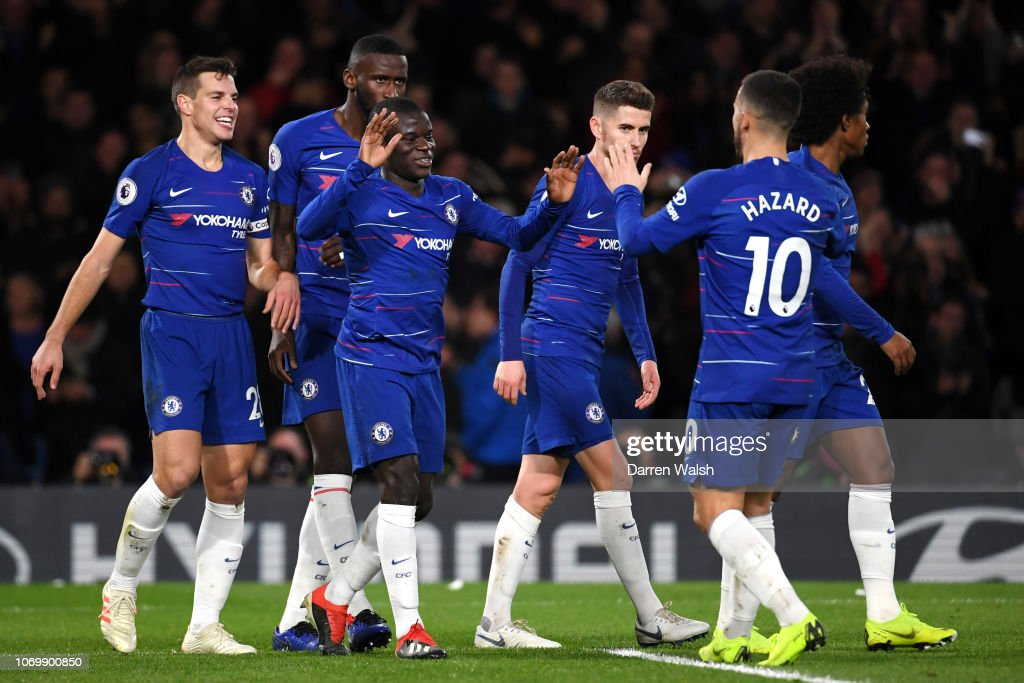 N'golo Kante Of Chelsea Celebrates After Scoring His Tam's