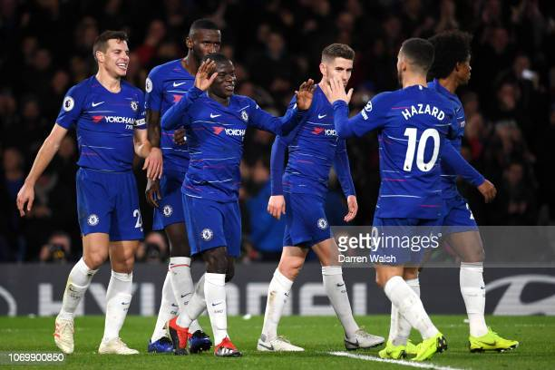 N'golo Kante of Chelsea celebrates after scoring his tam's first goal with his team mates during the Premier League match between Chelsea FC and...