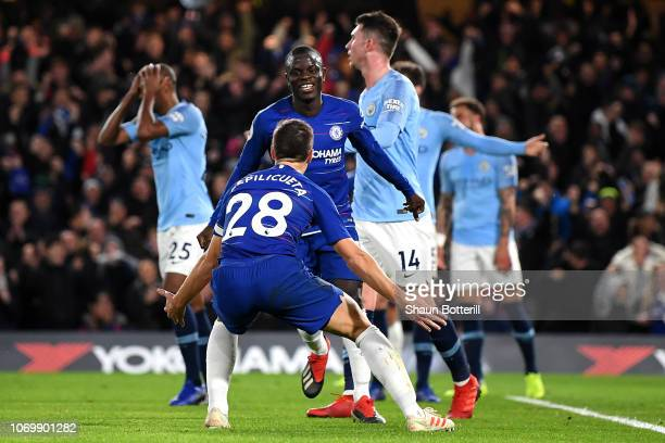 N'golo Kante of Chelsea celebrates after scoring his team's first goal with Cesar Azpilicueta of Chelsea during the Premier League match between...
