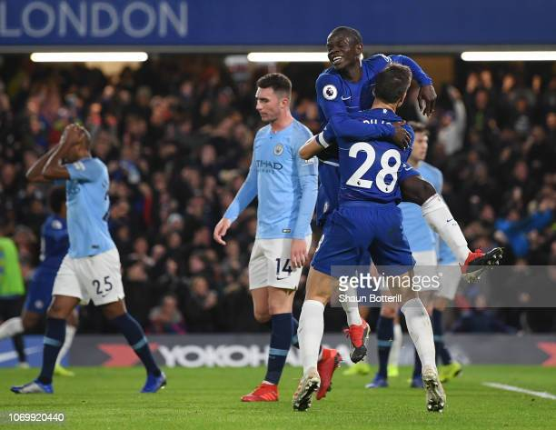 Golo Kante of Chelsea celebrates after scoring his team's first goal with Cesar Azpilicueta of Chelsea during the Premier League match between...