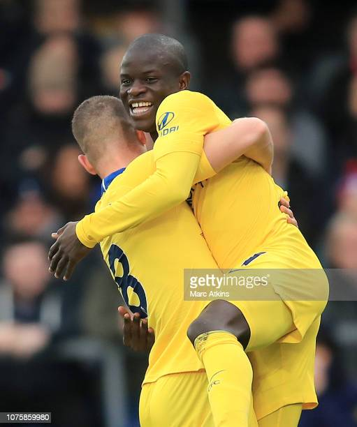 Golo Kante of Chelsea celebrates after scoring his team's first goal with Ross Barkley of Chelsea during the Premier League match between Crystal...