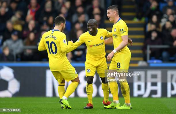 Golo Kante of Chelsea celebrates after scoring his team's first goal with Ross Barkley of Chelsea and Eden Hazard of Chelsea during the Premier...