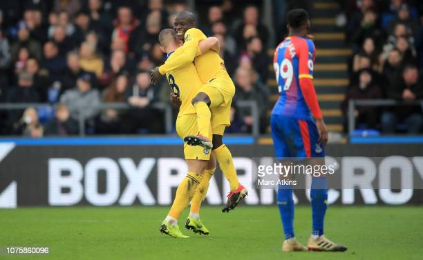 N'golo Kante of Chelsea celebrates after scoring his team's first goal with Ross Barkley of Chelsea during the Premier League match between Crystal...