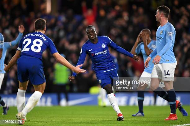N'golo Kante of Chelsea celebrates after scoring his team'sfirst goal during the Premier League match between Chelsea FC and Manchester City at...