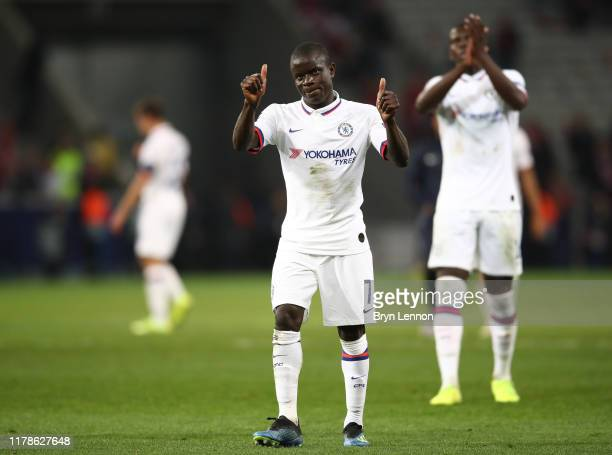 Golo Kante of Chelsea celebrates during the UEFA Champions League group H match between Lille OSC and Chelsea FC at Stade Pierre Mauroy on October 02...