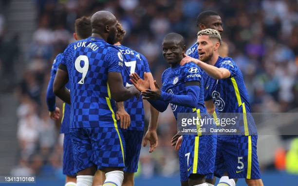 Golo Kante of Chelsea celebrates with team mates after scoring their second goal during the Premier League match between Tottenham Hotspur and...