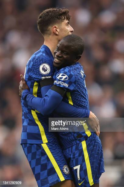 Golo Kante of Chelsea celebrates with teammate Kai Havertz after his shot takes a deflection from Eric Dier of Tottenham Hotspur , leading to an own...