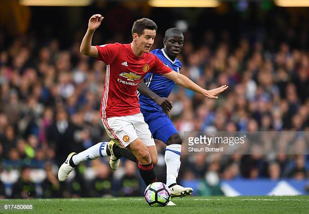 Golo Kante of Chelsea chases down Ander Herrera of Manchester United during the Premier League match between Chelsea and Manchester United at...