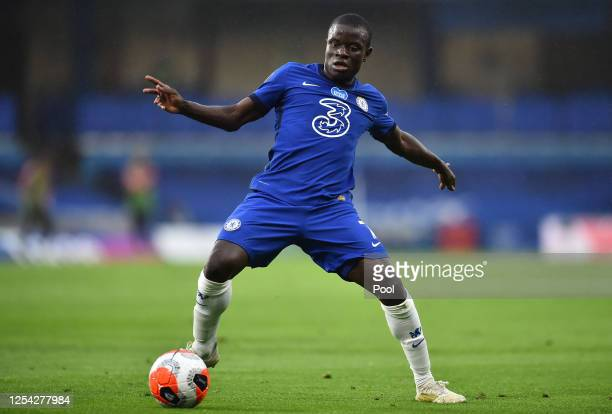 Golo Kante of Chelsea controls the ball during the Premier League match between Chelsea FC and Watford FC at Stamford Bridge on July 04 2020 in...
