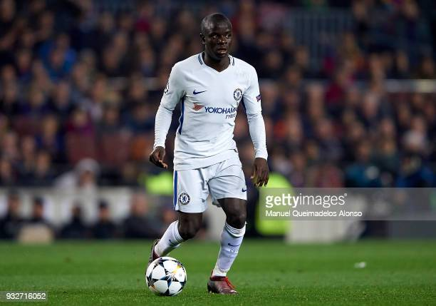 Golo Kante of Chelsea drives the ball during the UEFA Champions League Round of 16 Second Leg match between FC Barcelona and Chelsea FC at Camp Nou...