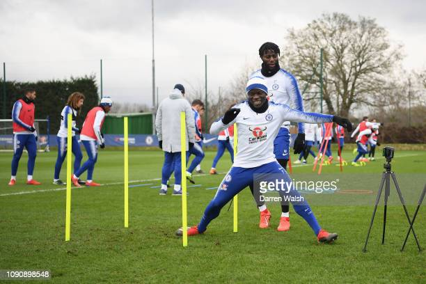 Golo Kante of Chelsea during a training session at Chelsea Training Ground on January 29 2019 in Cobham England