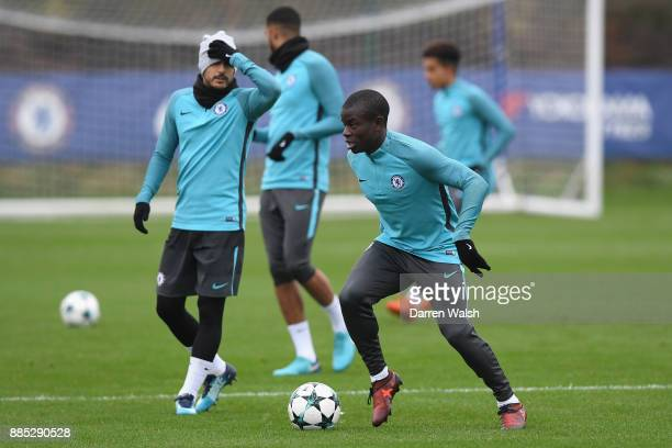 Golo Kante of Chelsea during a training session at Chelsea Training Ground on December 4 2017 in Cobham England