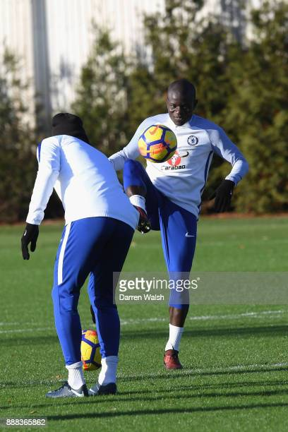 Golo Kante of Chelsea during a training session at Chelsea Training Ground on December 8 2017 in Cobham England