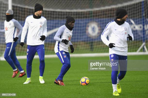 Golo Kante of Chelsea during a training session at Chelsea Training Ground on December 11 2017 in Cobham England