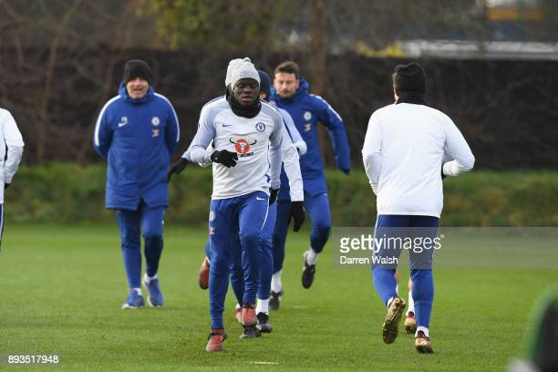 Golo Kante of Chelsea during a training session at Chelsea Training Ground on December 15 2017 in Cobham England