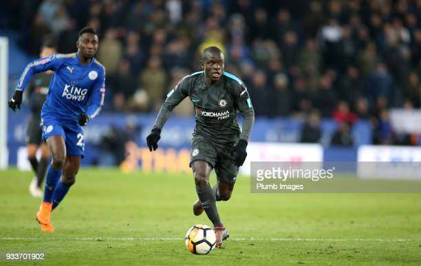 Golo Kante of Chelsea during The Emirates FA Cup Quarter Final tie between Leicester City and Chelsea at King Power Stadium on March 18 2018 in...