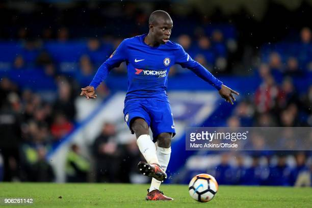 Golo Kante of Chelsea during the Emirates FA Cup Third Round Replay match between Chelsea and Norwich City at Stamford Bridge on January 17 2018 in...