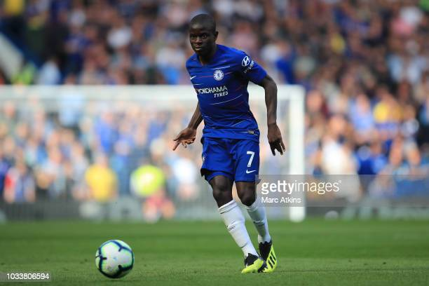 Golo Kante of Chelsea during the Premier League match between Chelsea FC and Cardiff City at Stamford Bridge on September 15 2018 in London United...