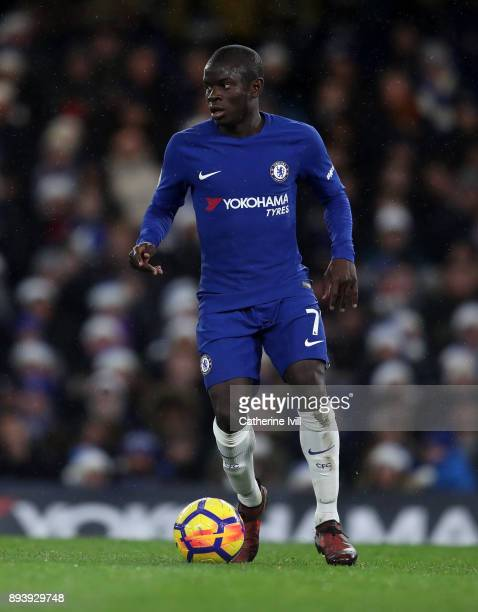 Golo Kante of Chelsea during the Premier League match between Chelsea and Southampton at Stamford Bridge on December 16 2017 in London England