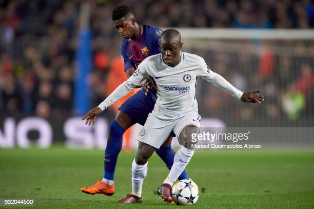 Golo Kante of Chelsea FC is challenged by Ousmane Dembele of FC Barcelona during the UEFA Champions League Round of 16 Second Leg match between FC...