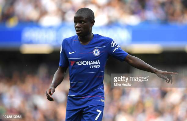 N'golo Kante of Chelsea gestures during the Premier League match between Chelsea FC and Arsenal FC at Stamford Bridge on August 18 2018 in London...
