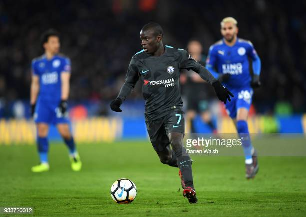 Golo Kante of Chelsea in action during The Emirates FA Cup Quarter Final match between Leicester City and Chelsea at The King Power Stadium on March...