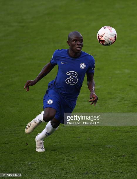 Golo Kante of Chelsea in action during the Premier League match between Chelsea and Liverpool at Stamford Bridge on September 20 2020 in London...